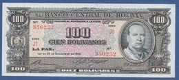 BOLIVIA - P.147(8) – 100 Bolivianos = 10 Bolívares1962  UNC-  Serie J1 350252 - Bolivia