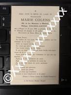 [V] Colens Marie Lievens Philippe Brugge Bruges 1906 1959 - Overlijden