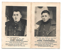 Dubbel Prentje - Jozef VERRAEST En André VANDENHEEDE - Lauwe - Moorsele - Maldegem - Gesneuvelde Soldaten In Mei 1940 - Godsdienst & Esoterisme