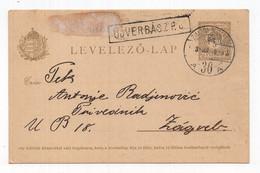 1909. HUNGARY,STATIONERY CARD,TPO 36 ZEMUN - BUDAPEST,USED FROM VRBAS TO ZAGREB - Postal Stationery