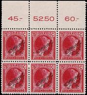 Luxembourg Luxemburg 1926 Grande Duchesse Charlotte Bloc 6x 75c. OFFICIEL Neuf MNH** - 1926-39 Charlotte Right-hand Side