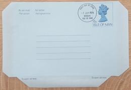 Ile De Man - Entier Postal - AEROGRAMME - REINE ELIZABETH - 6p  - Oblitéré 1er Jour / FDC - Man (Ile De)