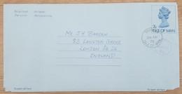 Ile De Man - Entier Postal - AEROGRAMME - REINE ELIZABETH - 7p Uprated 4p - Oblitéré - Man (Ile De)
