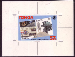 TONGA 1989 Cromalin Proof  - Shows Moon Cover - Apollo - Space - 5 Exist - Oceania