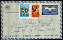 United Nations - 1982 - Aerogramme - Sent To Dominic Republic - A1RR2 - Briefe U. Dokumente