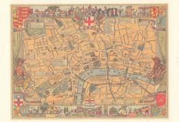 London Thames River Rare Map Postcard - Landkarten