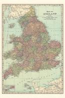 Map Of England Britain Rare Postcard - Landkarten