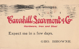 Salesman's Notice To The Rock Island Hardware Co., Rock Island, Quebec From Caverhill Learmont & Co. Montreal & Winnipeg - Otros