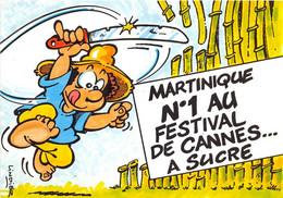 """ILLUSTRATEUR - SERGE LINDIER - """"MARTINIQUE - N°1 AU FESTIVAL DE CANNES...A SUCRE"""" - HUMORISTIQUE - Andere Illustrators"""