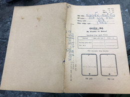 Viet Nam South-ID Book Medical Staff-Military-the Government's Medical Records-book Old-before 1975(so Quan Ba-year-1962 - Old Books