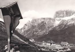 (QU453) - DOLOMITI (Trento) - Passo Pordoi - TIMBRO SUL RETRO DELL'ALBERGO-RIFUGIO - Trento