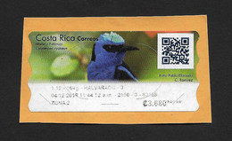 Costa Rica 2018 , Bird Postage Label , With QR , Used On Fragment - Costa Rica