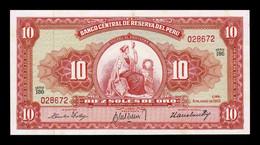 Perú 10 Soles De Oro 1962 Pick 84a SC-/SC AUNC/UNC - Peru