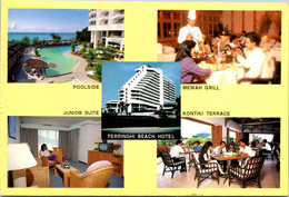 (2 A 14) Malaysia Postcard Posted To Australia (with Singapore Bees Stamps) Penang Ferringhi Beach Hotel - Hotels & Restaurants
