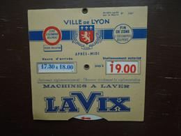 """Assez Rare , Ancien Disque De Controle De Stationnement , Ville De Lyon """""""" Pub Machine A Laver LAVIX """""""" - Coches"""
