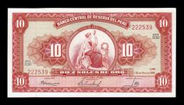 Perú 10 Soles De Oro 1966 Pick 84c SC-/SC AUNC/UNC - Peru