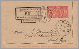 St. Pierre & Miquelon -  SPM 10c Letter Card - 1926 Provisional Postpaid Handstamps - Type P P - Covers & Documents