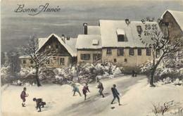 Paysage Hivernal Village Enfants Jouant Aux Boules De Neige RV - Paintings