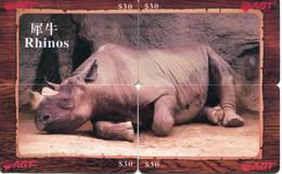 Puzzle De 4 Télécartes AGT : Rhinocéros - Altri