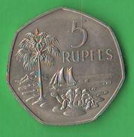 Seycelles 5 Rupie 1972 Rupees Turtle Nickel Coin British Amministration - Seychelles