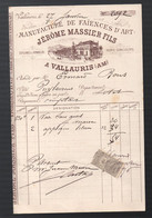 Vallauris (06 Alpes Maritimes)  Facture 1896 JEROME MASSIER  Faïences D'art , Avec Timbre Fiscal  (PPP31643) - 1800 – 1899