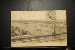 CP, 75, PARIS,  Vue Sur La Seine , Prise Du Viaduc D'Auteuil - El Sena Y Sus Bordes
