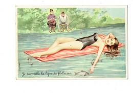 Cpm Illustration Humour Ligne De Flottaison Pêcheur Femme Tricot Pin'up Sexy Mi Nue Maillot Bain Poisson Carriere 50312 - Carrière, Louis