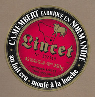 ETIQUETTE De FROMAGE...CAMEMBERT Fabriqué En NORMANDIE ( Orne 61-Z).. Fromagerie LINCET à ANGLURE ( Marne 51) - Cheese