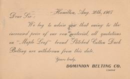 Notice To Rock Island Hardware, Rock Island, Quebec From Dominion Belting Co., Hamilton, Ontario Of Price Change - Otros