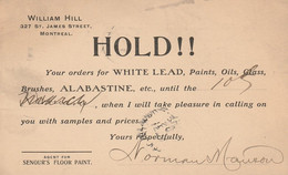 Notice To Rock Island Hardware, Rock Island, Quebec Hold!! Paint William Hill, Montreal, Quebec WHITE LEAD Paints - Otros