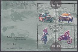 FINNLAND  Block 16, Gestempelt, Internationale Briefmarkenausstellung FINLANDIA '95, Helsinki (I): Motorsport, 1995 - Blocks & Kleinbögen