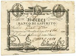 10 PAOLI RESTO MONTE DI PIETÀ PRIMA REPUBBLICA ROMANA 07/07/1798 BB/BB+ - Other