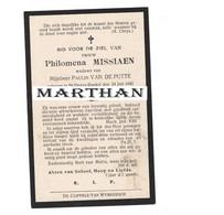 DOODSPRENTJE MISSIAEN PHILOMENA WEDUWE VAN DE PUTTE SINT DEIJS BOEKEL 1842 - 1922 - Devotion Images