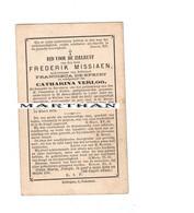 DOODSPRENTJE MISSIAEN FREDERIK WEDUWNAAR DESPRIET ECHTGENOOT VERLOO SINT ELIGIUS VIJVE SINT DENIJS BOEKEL 1802 - 1878 - Devotion Images