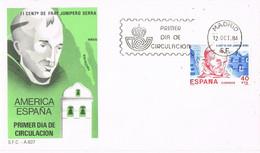 41627. Carta F.D.C. MADRID 1984. FRAY JUNIPERO SERRA, America España, California - FDC