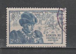 FRANCE / 1945 / Y&T N° 743 : Journée Du Timbre (Louis XI) - Choisi - Cachet Rond - Gebraucht