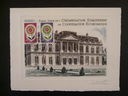 Gravure Signée Combet Chateau De La Muette Siège De L'OECE Europa 1964 - Castles