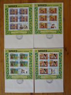 Série De 8 FDC Disney Mickey And The Beanstalk Feuillets Miniature Sheets Mongolie Mongolia 1984 - Disney