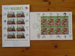 FDC (x2) Disney Mark Twain Grimm Bloc Miniature Sheet Maldives 1985 - Disney