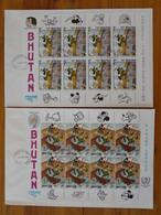 FDC (x2) Disney Mark Twain Grimm Mickey Bloc Miniature Sheet Bhutan 1985 - Disney
