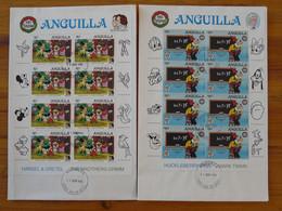 FDC (x2) Disney Mark Twain Grimm Bloc Miniature Sheet Anguilla 1985 - Disney