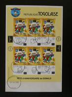FDC Disney Donald Duck Bloc Miniature Sheet Togo Ameripex 1986 - Disney