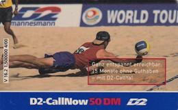 GERMANY - Beach Volley, D2 Prepaid Card 50 DM, Exp.date 07/02, Used - Sport