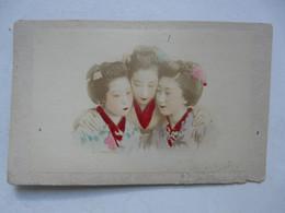PHOTO ANCIENNE JAPON Sur Support Cartonné : Scène Animée - Trio Féminin - Geishas - Antiche (ante 1900)