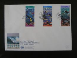 FDC Océans Propres Baleine Whale Phoque Nations Unies United Nations 1992 (charnières Adhérentes Au Verso) - Protezione Dell'Ambiente & Clima