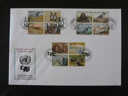 FDC Espèces Menacées Endangered Species Nations Unies United Nations 1993 (charnières Adhérentes Au Verso) - Otros