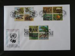 FDC Espèces Menacées Endangered Species Nations Unies United Nations 1994 (charnières Adhérentes Au Verso) - Otros