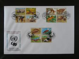 FDC Espèces Menacées Endangered Species Nations Unies United Nations 1995 (charnières Adhérentes Au Verso) - Otros