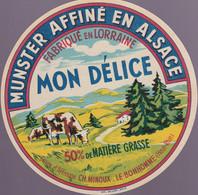 ÉTIQUETTE DE FROMAGE - GRAND FORMAT - MUNSTER - FABRIQUÉ EN LORRAINE - MON DÉLICE - Cheese