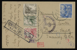 TREASURE HUNT [02009] Spain 1942 Pict. Post Card (Puerta Alcala) To Berlin, Germany Bearing 10c+15c+5c+45c Stamps, Cens. - 1931-50 Lettres